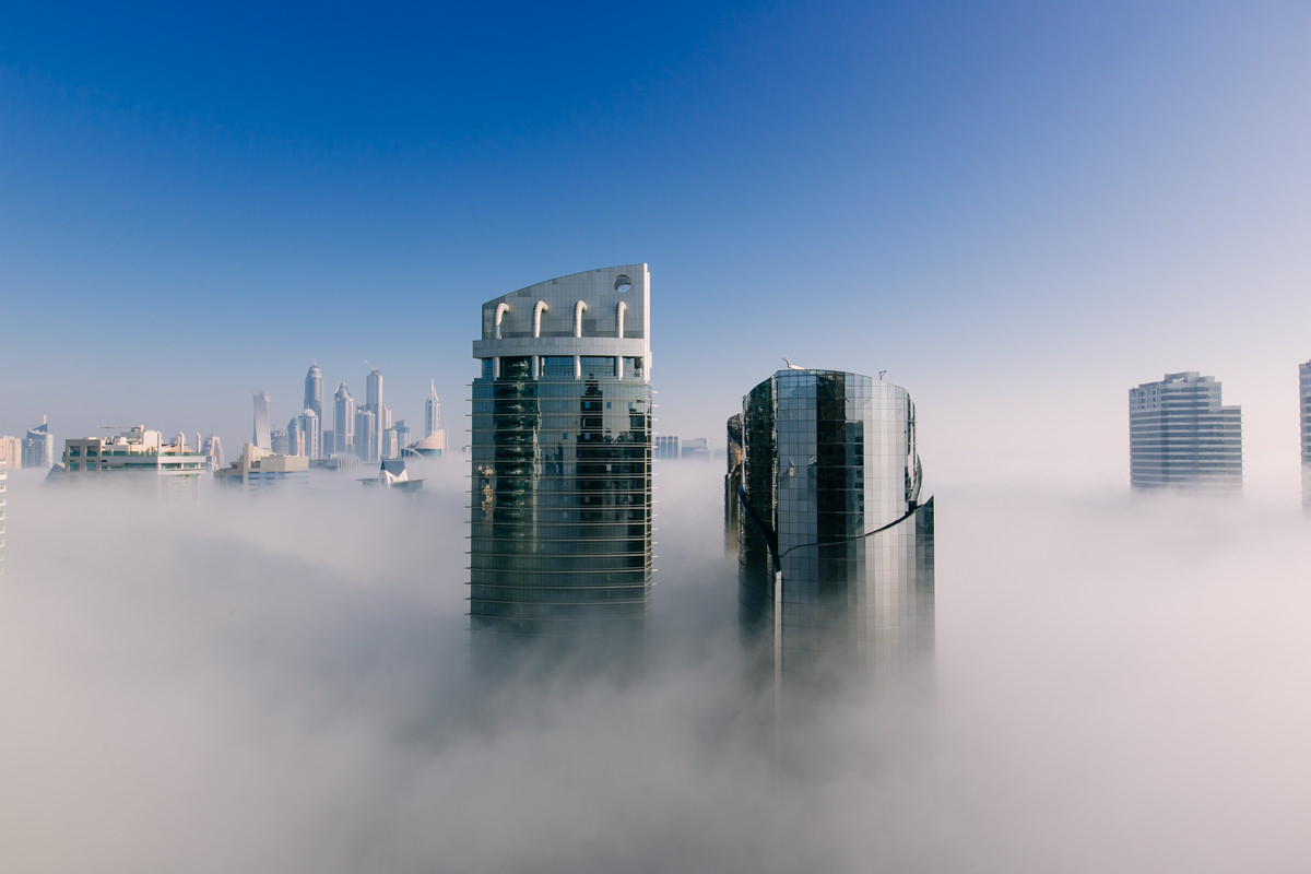 Fog covering Dubai