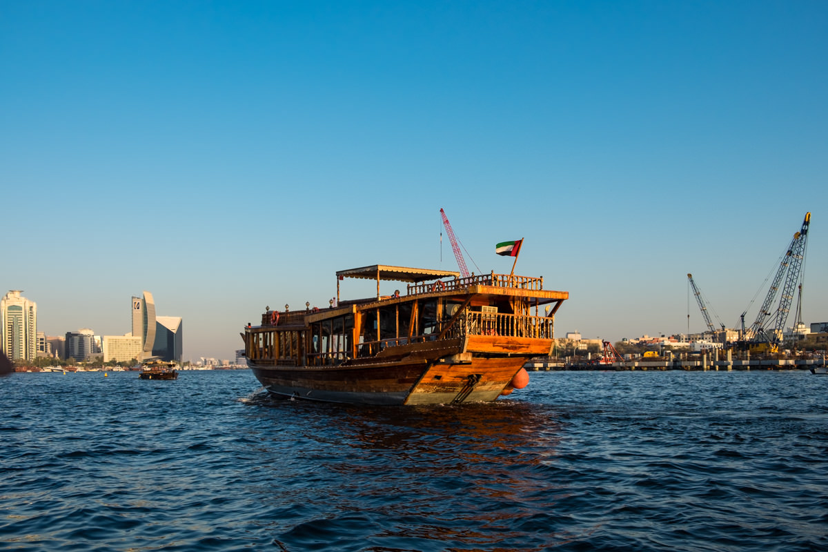 Traditional dhow at sunset