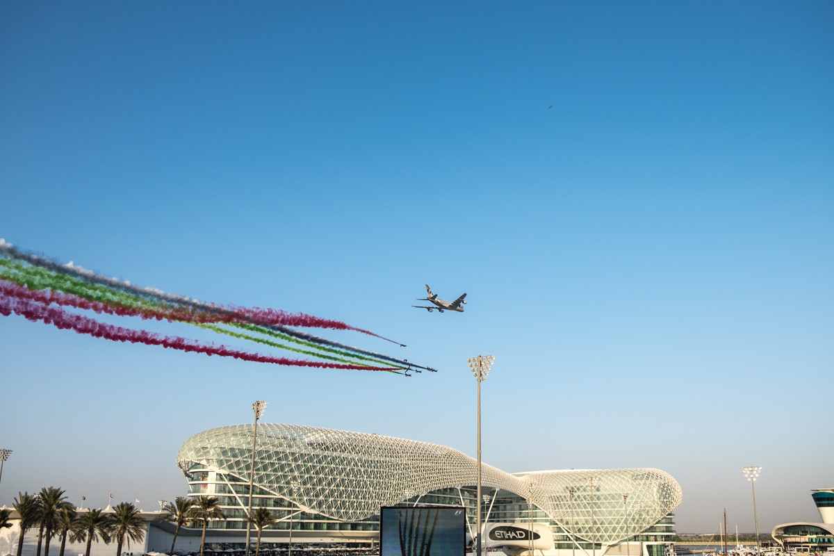 Etihad Fly By at the F1 in Abu Dhabi